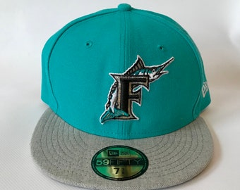 Brand New Florida Miami Marlins New Era 5950 Fitted Hat Cap Size 7 3/8