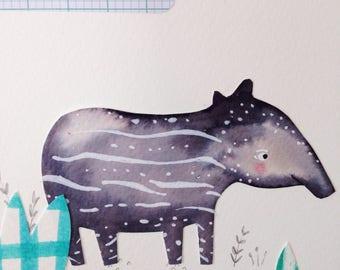 Tiny Tapir original collage art