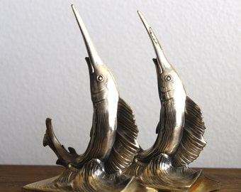 Pair Marlin or Swordfish Fishing Bookends Philadelphia Mfg Co Mid Century Nautical Beach Decor