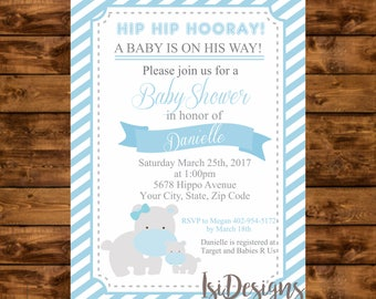 Baby Shower Invitation, Baby Blue Hippos Baby Shower Invite, Boy Baby Shower Printable Blue Hippo Invitation, Hippos Baby Shower