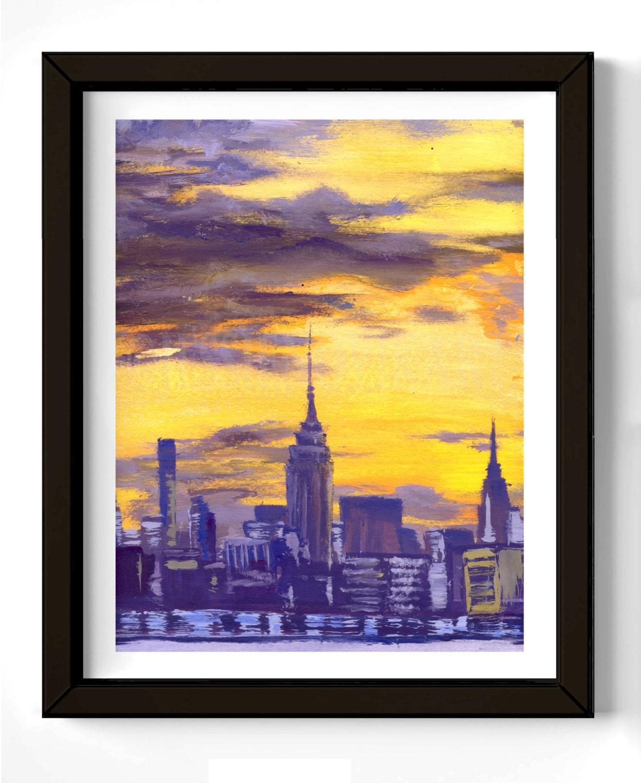 NYC Acrylic Painting New York print of original Manhattan