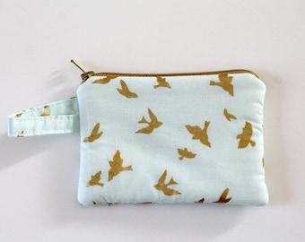 small zipper pouch, Minimalist pocket wallet, Change purse, cash wallet, mini zipper pouch, earbud case, Metallic gold bird bag, mom purse