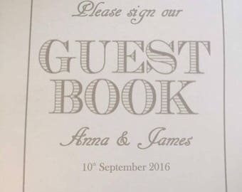 Sign guest book sign