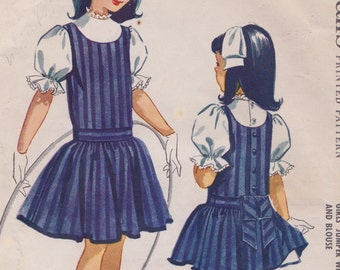 1950s McCalls 4645 Helen Lee Girls Jumper with Attached Petticoat Vintage Sewing Pattern, Drop Waist Dress & Blouse, Size 10, Breast 28