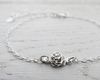 Tiny Silver Rose Bracelet - Sterling Silver