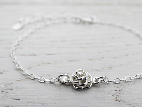 Tiny Silver Rose Bracelet, Sterling Silver