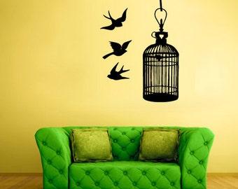 bird cage wall art bird cage wall decal bird cage wall decor bird cage wall decoration bird cage wall sticker (Z564)