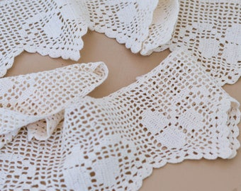 "Hand Crocheted Lace Edging, Vintage White Lace, 60"", Sewing Supply"