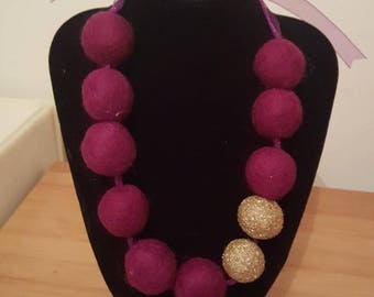 Purple and gold sparkle felt ball necklace. Ribbon and felt necklace