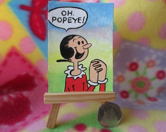 ACEO Original Miniature Painting Popeye the sailor Olive Oyl Art Comic Girl Artist Trading Card