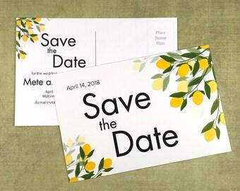 Lemon Theme Save the Date Postcard - Set of 25 Postcards