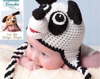 Crochet Pattern 012 - Panda Bear Earflap Beanie Hat - All Sizes