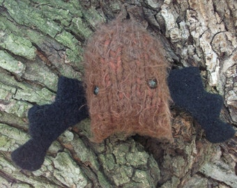 Bat plush toy, Bat stuffed animal, brown bat toy, knitted and felted brown bat, amigurumi bat plush toy,  ready to ship!