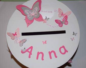 Round urn baptism, communion, wedding, birthday butterflies - pink, fuchsia, grey