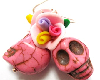 Pink Day of the Dead Sugar Skull Earrings