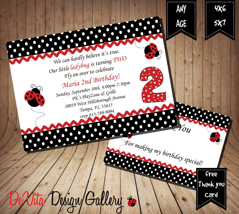Ladybug Birthday Invitation Printable 5x7 or 4x6 and FREE