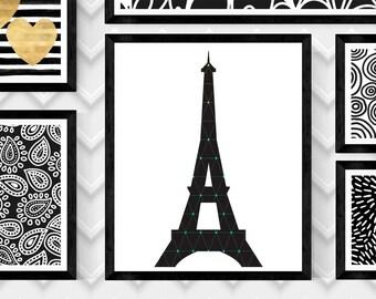 """8"""" X 10"""" Eiffel Tower Instant Digital Download Paris, Eiffel Tower Artwork, Paris Artwork, Minimalist Wall Decor, Geometric Wall Art, Paris"""
