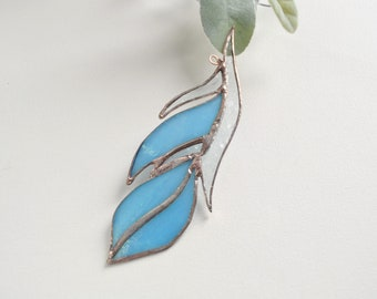 Blue Iridescent Glass Feather Stained Glass Suncatcher by jacquiesummer