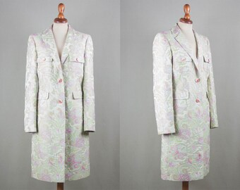etro coat, floral embroidered spring coat, etro milano, flower elegant light weight jacket, pink blue green pastel color 90s