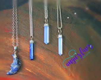 Ball Chain Necklaces, Stone, Crescent Moon