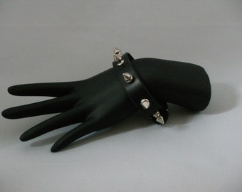 Black Leather Spike Bracelet, Rocker Style Bracelet