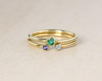 Set of 2 - Birthstone Rings – Green Emerald, Sapphire, Choose Your Birthstone
