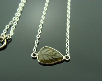 Genuine Green Tourmaline Bezel Set Carved Leaf Sterling Silver Necklace