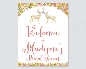 Woodland Bridal Shower Welcome Sign Printable - Floral Deer Bridal Shower Customizable Sign - Whimsical Flower Deer Wedding Shower Sign 0022