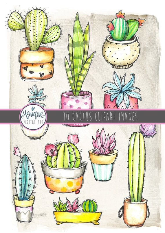 Cactus clipart watercolor cactus cactus in pots sticker clipart quirky handpainted whimsical cactus cute cactusplanner stickers from