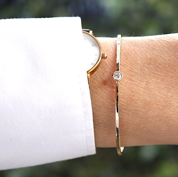 gold plated Bangle Bracelet solitaire cubic zirconia