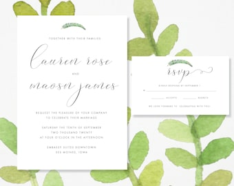 Modern script Wedding Invitation & RSVP Card