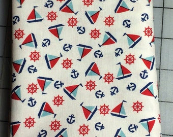 HALF YARD cut of - Penny Rose - Toy Chest - Sailboats in White but it's called Aqua
