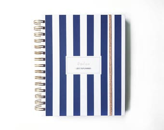 2017 personalized planner vertical stripes | custom  planner agenda student calendar wedding planner graduation gift  hard cover