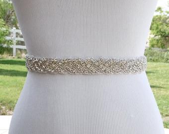 Bridal Sash Belt Wedding Dress Sash Belt Rhinestone Wedding Sash Belt Rhinestone Sash Belt Ivory Ribbon SA011LX