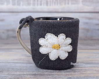 Coffee lover gift, Mug sweater, Tea sleeve,  Cup warmer, Knitted coffee mug cozy, Party favor,  White flower,  Hot drink cosy, Floral design