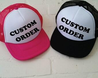 Custom Trucker Cap. Custom Hat. Custom Printed Hat. Custom Text. Personalised Cap.