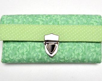 Wallet, ladies purse, vegan, fabric purse, green