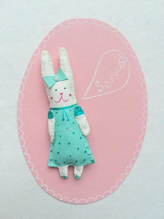 """SALE! Rabbit Brooch, Pendant """"Mini Bunny Friend"""" handmade unique gift. 3D patch."""