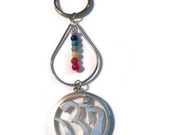Chakra Tear Drop Keychain/ Om Chakra Keychain/ Genuine Stone Keychain/ Rainbow Keychain/ Pride Keychain/ Om Keychain/ spirital gifts