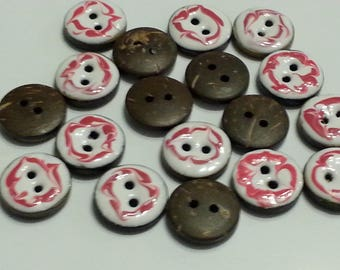 2 beautiful white and red enameled coconut button