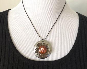 Metal + Glass Floral Pendant Necklace
