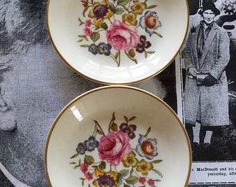 Royal Worcester Fine Bone China Set of Two Small Plate or Trinket Dish
