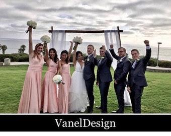 BLUSH Bridesmaid Dress INFINITY Blush Convertible Short Long Bridesmaids Custom Designed Bridesmaids Dress Long Blush Wrap dress Prom dress
