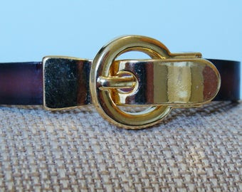 Buckle Bracelet with Two Tone Brown Leather