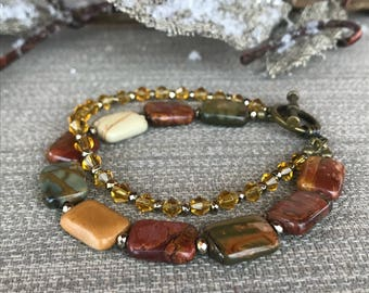 Hematite, Jasper and Swarovski Beaded Bracelet