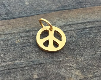 Peace Sign Charm Gold Plate 24K