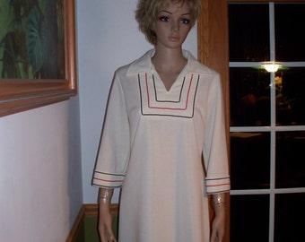Womens White /Pinstripe Dress -Sleeves~ Vintage Dress By Bleeker Street
