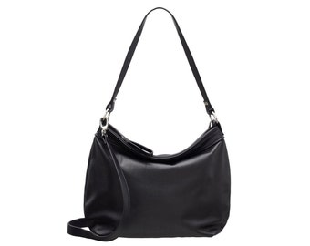 Black leather purse - Black hobo bag  - Black women bags-  MEDIUM HELEN bag