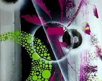 PURPLE GREEN acrylic peinting