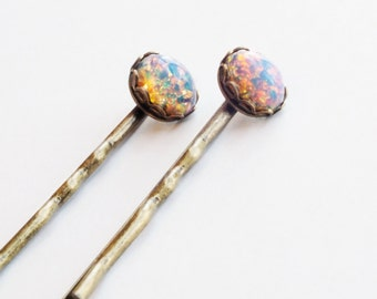 Opal Hair Pins Small Vintage Glass Harlequin Fire Opal Hair Pins Gold Pink Lavender Romantic Bridal Hair Pin Spring Wedding Accessories